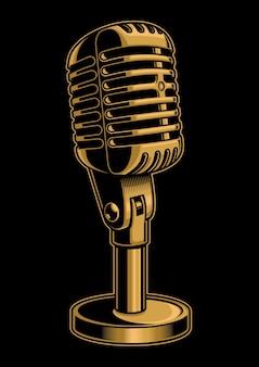 Illustrazione d'epoca del microfono a colori su sfondo nero