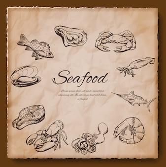 Illustrazione d'epoca di frutti di mare