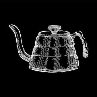Illustrazione d'epoca di un bollitore per il tè
