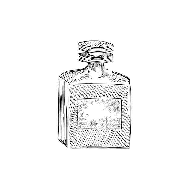 Illustrazione d'epoca di una bottiglia di profumo