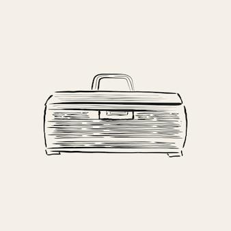 Illustrazione d'epoca di una scatola di attrezzatura da pesca