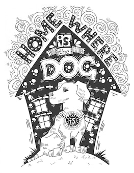 Illustrazione d'epoca disegnata a mano su animale domestico.