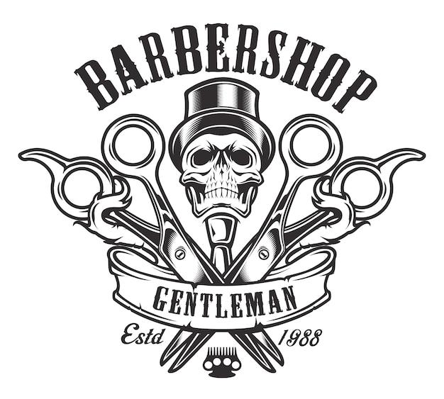 Illustrazione d'epoca sul tema del barbiere con un teschio su uno sfondo bianco. tutti gli elementi e il testo sono in un gruppo separato.
