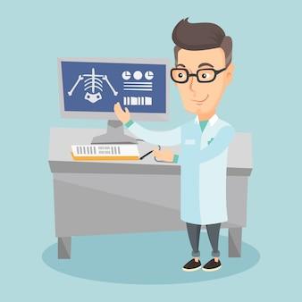 Illustrazione d'esame di vettore della radiografia del medico.