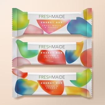 Illustrazione d'imballaggio del pacchetto della barra di energia della proteina della farina d'avena o della frutta secca con il modello astratto di pendenza stampato.