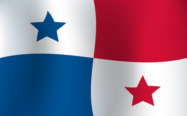 Illustrazione d'ondeggiamento di vettore di colore del fondo della bandiera di panama