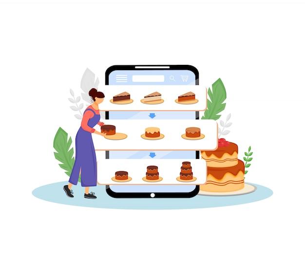 Illustrazione d'ordine di concetto delle torte online. cuoco femminile, pasticcere personaggio dei cartoni animati per il web. ordine creativo di prodotti da forno dolci e consegna internet