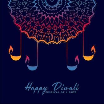 Illustrazione decorativa di diya felice di diwali felice