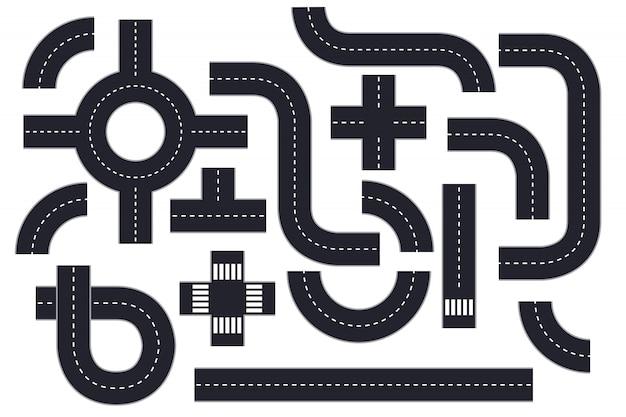 Illustrazione degli elementi della strada isolata su bianco