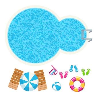 Illustrazione degli elementi di vettore di vista superiore degli accessori di estate e della piscina