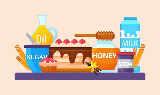 Illustrazione degli ingredienti e degli strumenti della cucina di cottura. prodotti per la cottura di impasti per torte cremose o cupcake. olio, latte, miele, zucchero, soda, vaniglia.