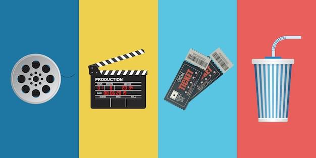 Illustrazione degli oggetti del cinema isolata