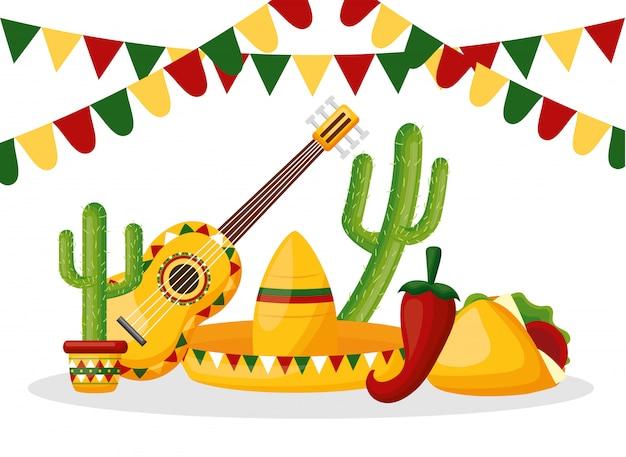 Illustrazione degli oggetti messicani del messico cinco de mayo