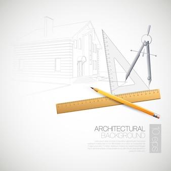 Illustrazione degli strumenti di disegno architettonici della casa