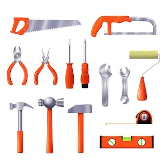 Illustrazione degli strumenti di riparazione della casa. strumento per la costruzione e il rinnovamento dell'interior design isolato.