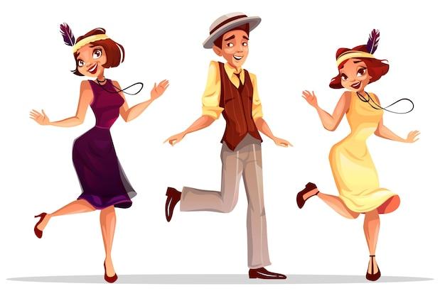 Illustrazione dei ballerini di jazz delle donne e dell'uomo di medio evo in cappello che balla charleston