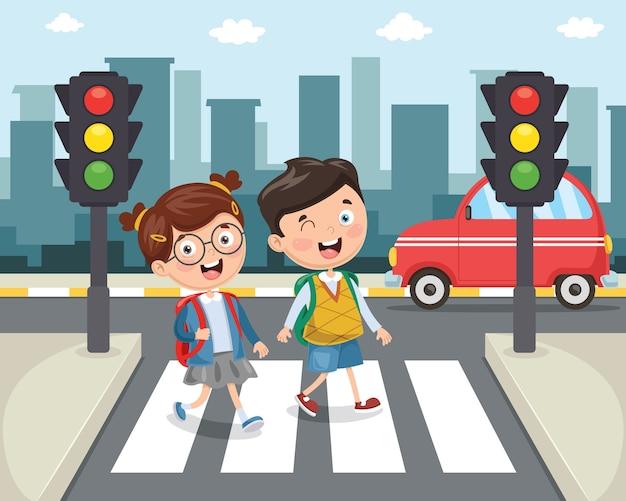 Illustrazione dei bambini che camminano attraverso crosswalk