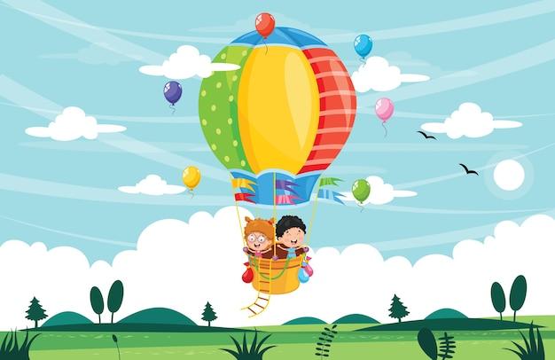 Illustrazione dei bambini che guidano la mongolfiera