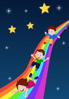 Illustrazione dei bambini che scorrono giù un arcobaleno