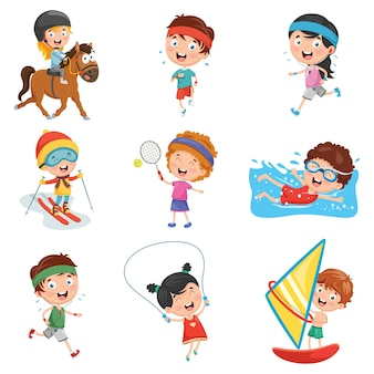 Illustrazione dei bambini fare sport