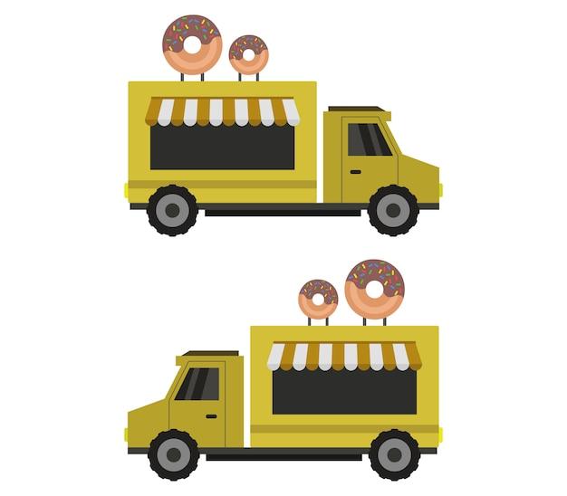 Illustrazione dei camion di consegna di ciambelle