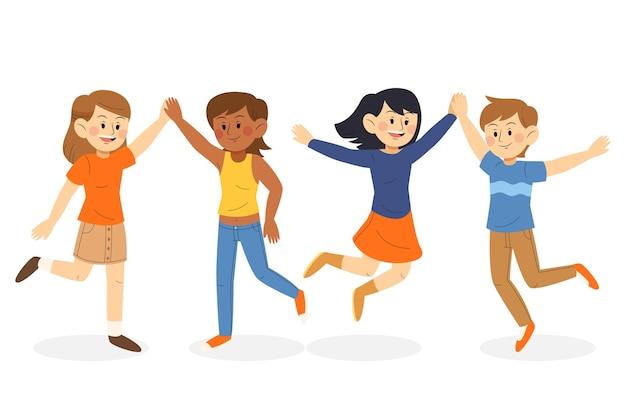 Illustrazione dei giovani che dà raccolta dei cinque alti