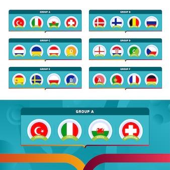 Illustrazione dei gruppi della fase finale del torneo di calcio 2020.