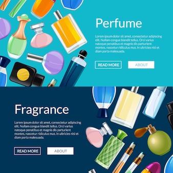 Illustrazione dei modelli dell'insegna di web delle bottiglie di profumo di vettore