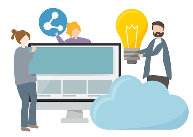 Illustrazione dei personaggi con il concetto di tecnologia e innovazione
