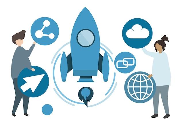 Illustrazione dei personaggi e il concetto di tecnologia