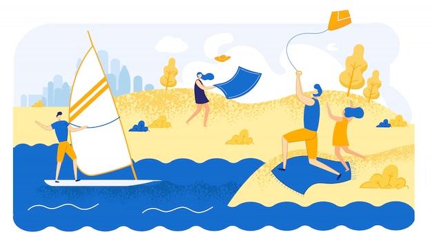 Illustrazione dei personaggi in spiaggia tempo ventoso estivo.