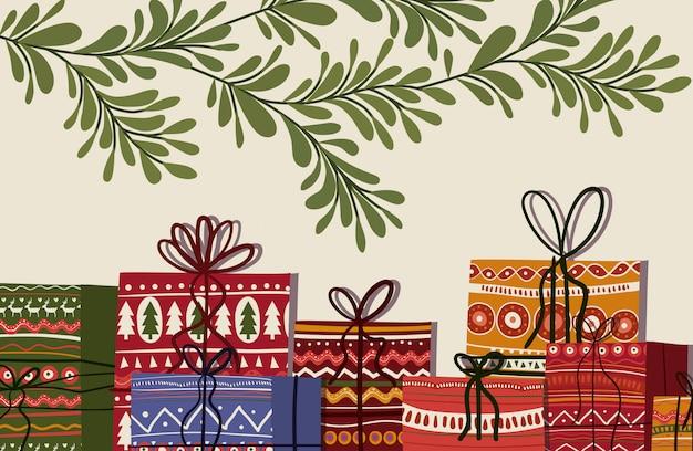 Illustrazione dei regali e delle foglie di buon natale