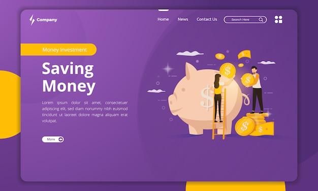 Illustrazione dei soldi di risparmio sul modello della pagina di destinazione