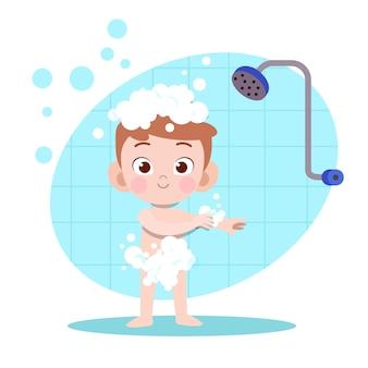 Illustrazione del bagno doccia ragazzo del bambino