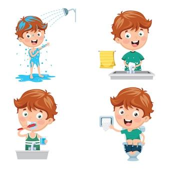 Illustrazione del bambino che bagna, lavarsi i denti, lavarsi le mani dopo la toilette