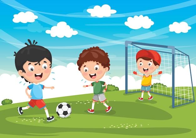 Illustrazione del bambino che gioca a calcio