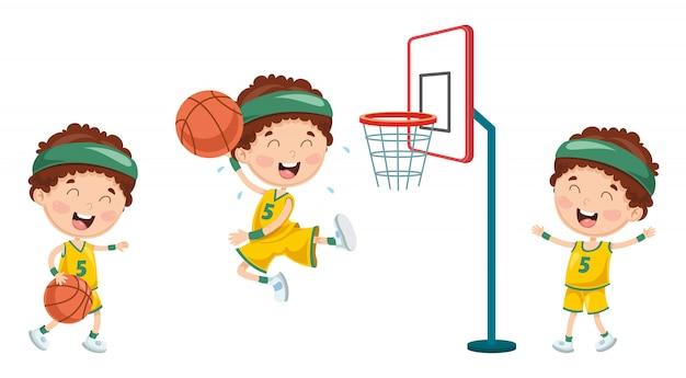 Illustrazione del bambino che gioca pallacanestro