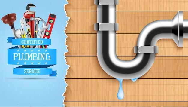 Illustrazione del banner di servizio idraulico con strumenti di riparazione