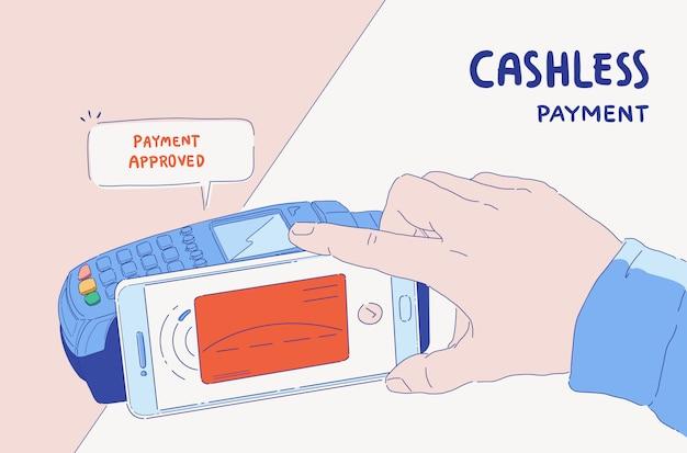 Illustrazione del banner e-payment. pagamento mobile online tramite telefono e carta di credito connessa. pagamento approvato società senza contanti.