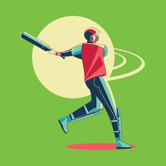 Illustrazione del battitore che gioca il campionato del cricket o il giocatore del cricket con l'oscillazione del pipistrello
