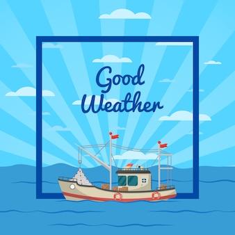 Illustrazione del bel tempo con la nave