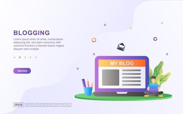 Illustrazione del blogging con persone che creano blog.