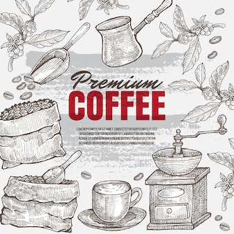 Illustrazione del caffè a mano disegnata d'epoca. oggetto d'arte isolato. adatto a tutti i supporti di stampa del menu del ristorante o del caffè.