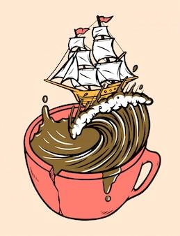 Illustrazione del caffè della vela