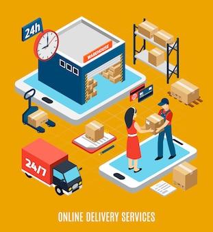 Illustrazione del camion e del magazzino 3d del lavoratore di servizio di consegna online di 24 ore