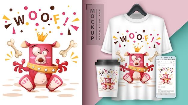 Illustrazione del cane della principessa per la carta da parati della maglietta, della tazza e dello smartphone