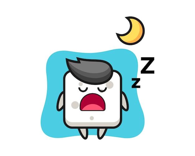 Illustrazione del carattere del cubo dello zucchero che dorme alla notte, stile sveglio per la maglietta, autoadesivo, elemento di logo