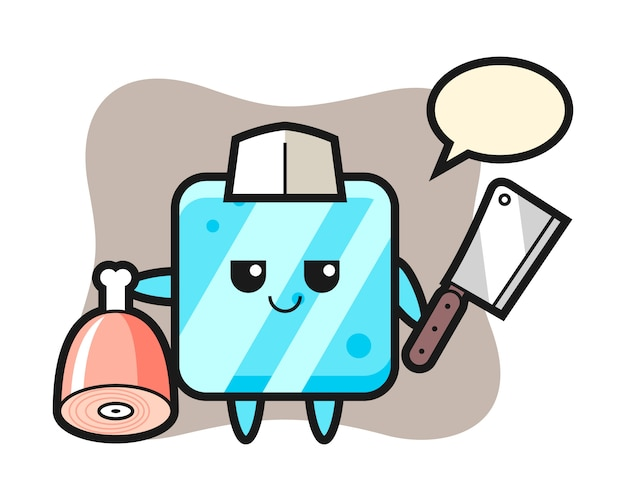 Illustrazione del carattere del cubo di ghiaccio come macellaio
