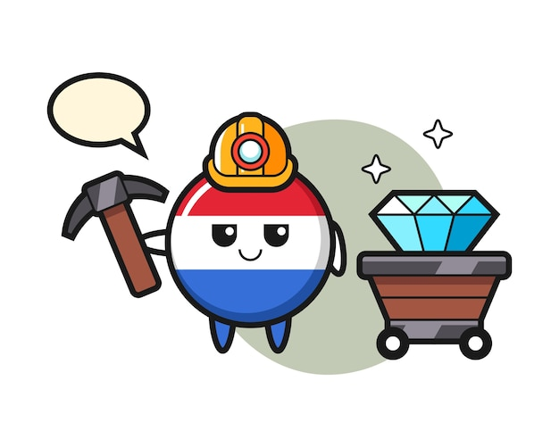 Illustrazione del carattere del distintivo della bandiera dei paesi bassi come minatore