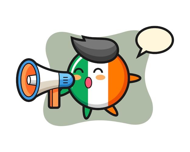 Illustrazione del carattere del distintivo della bandiera dell'irlanda che tiene un megafono